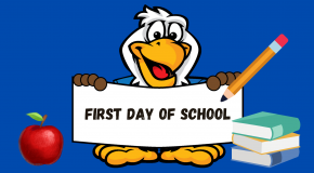 Eagle with first day of school sign